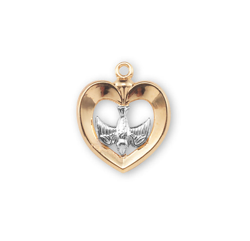 Tutone Gold Over Sterling Silver Heart with Holy Spirit