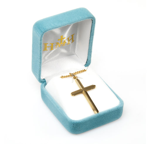 Gold Over Sterling Silver Inlay Cross Pendant