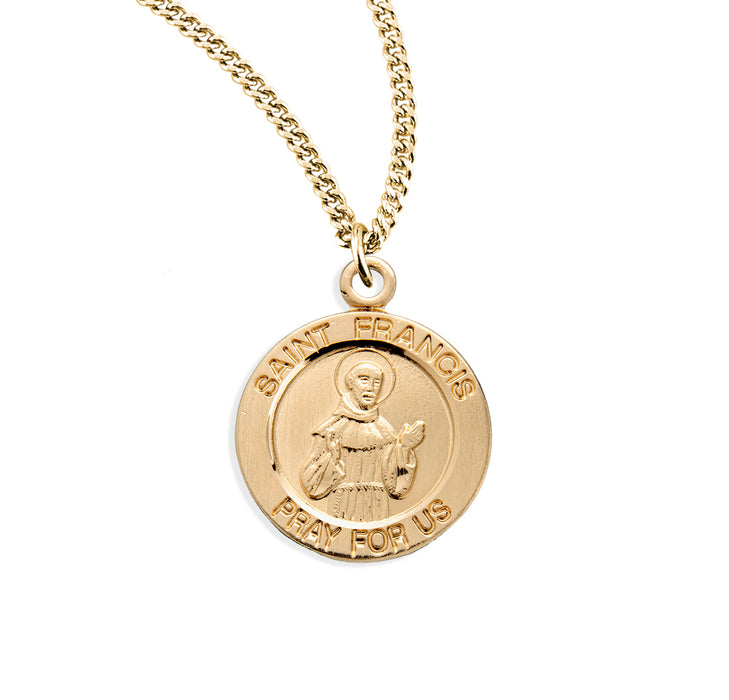 St. Francis of Assisi Gold over Sterling Silver Round Medal