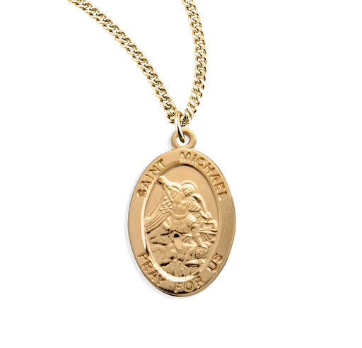 St. Michael Gold over Sterling Silver Oval Medal