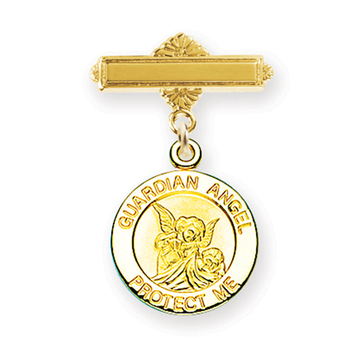 Guardian Angel Gold over Sterling Silver Round Baby Medal on Bar Pin