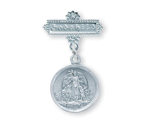 Guardian Angel Sterling Silver Baby Medal on Godchild Bar Pin