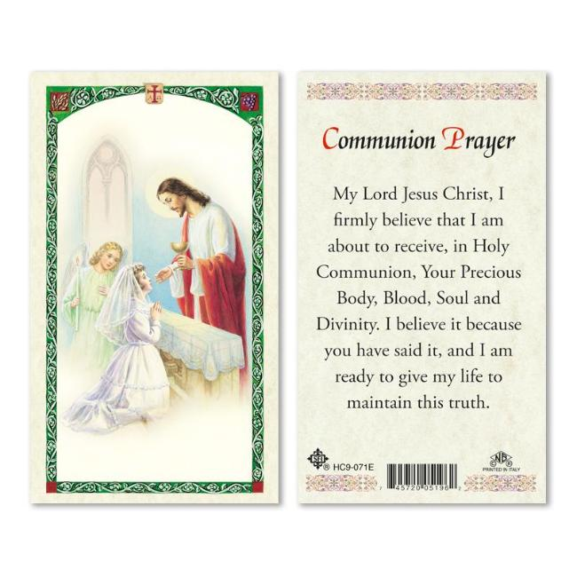 Girl First Communion Prayer Holy Card