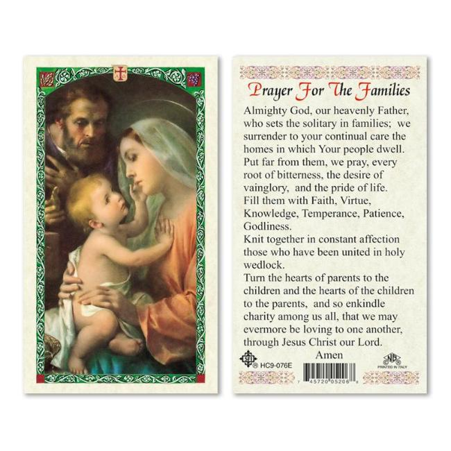 Holy Family Prayer Holy Card