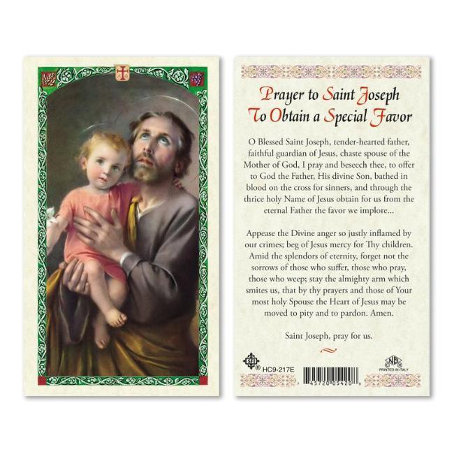 Obtain A Special Favor St Joseph Prayer Holy Card