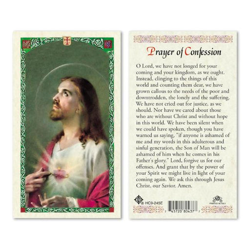 Confession Sacred Heart of Jesus Holy Card