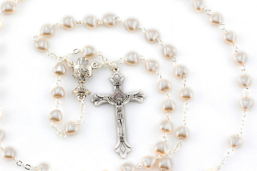 Cream Heart Shaped Pearl Bead Rosary
