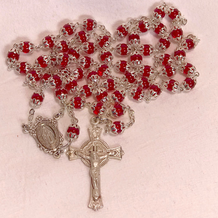 Sterling Silver Red Glass Double Capped Rosary