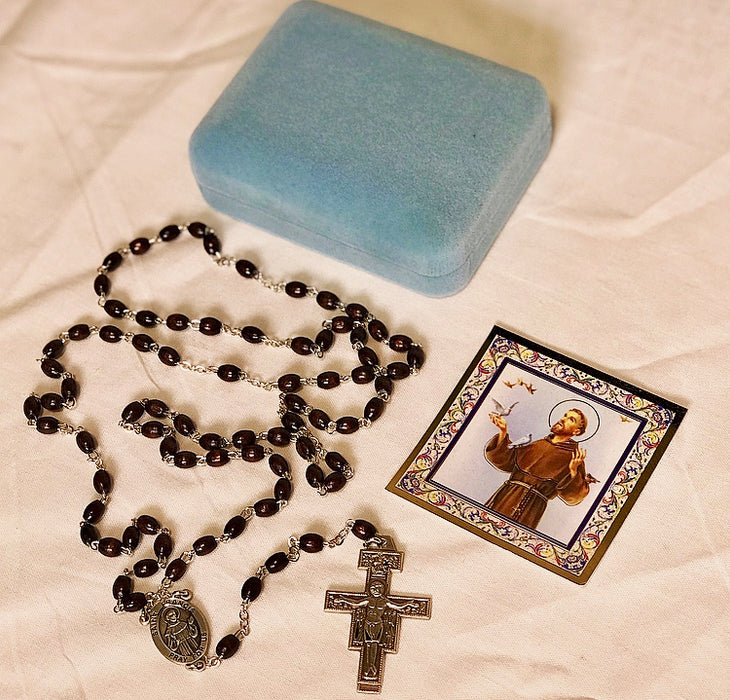 St. Francis Sterling Silver Rosary - 7 Decade Brown Boxwood Beads