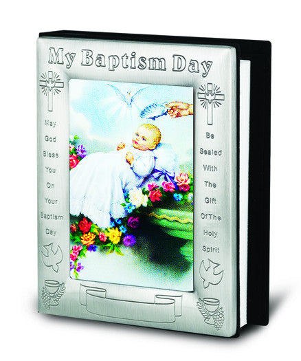 Image of BAPTISM PICTURE IN PEWTER PHOTO