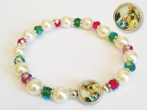Christmas Bracelet with Enameled Nativity Medal