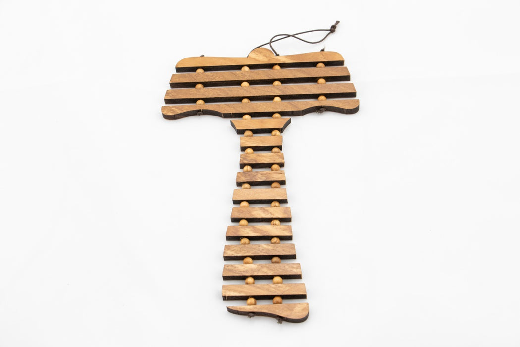 Olive Wood Tau Cross - Our Father Prayer - English