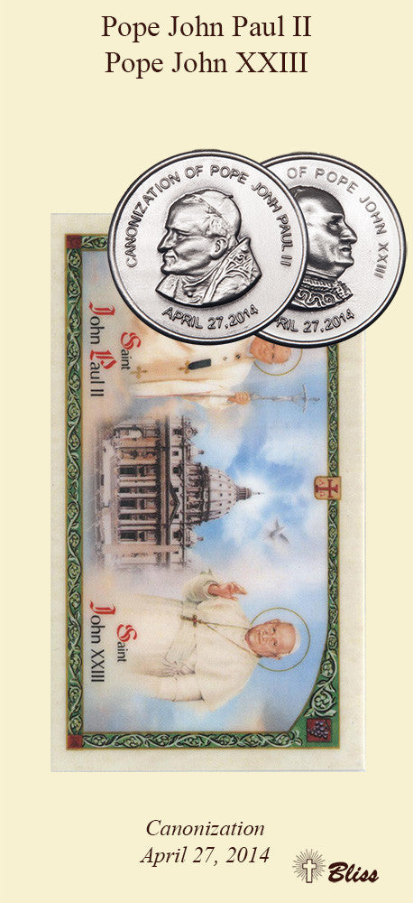 St John Paul II / Pope John XXIII Double Sided Pocket Piece / Prayer Card