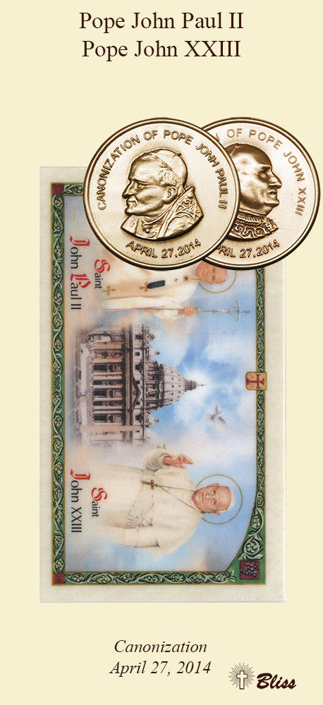St  John Paul II / St John XXIII Double Sided Pocket Piece (Antique Gold)