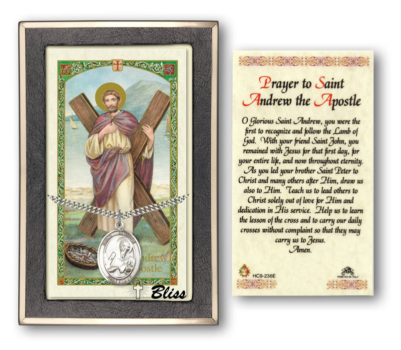 Image of St. Andrew the Apostle Sterling Silver Prayer Card