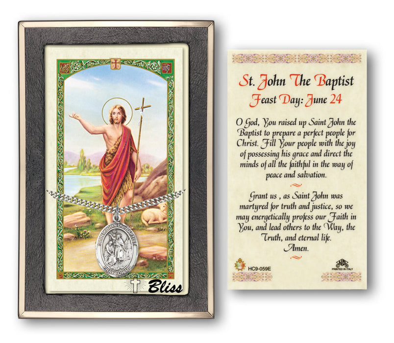 Image of St. John the Baptist Sterling Silver Prayer Card