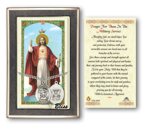 St. Michael the Archangel Pendant / Prayer Card (Navy)