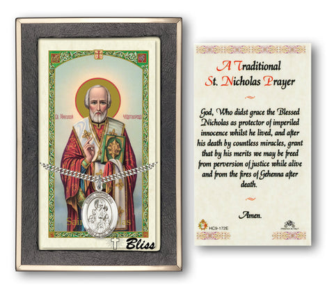 Image of St. Nicholas Silver Filled Prayer Card