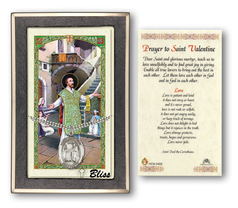Image of St. Valentine of Rome Sterling Silver Prayer Card
