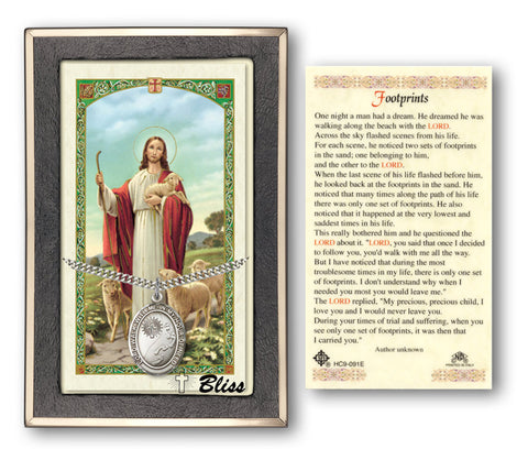 Image of Footprints / Cross Silver Filled Prayer Card