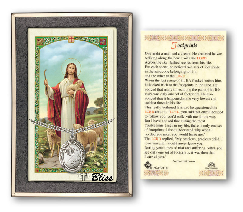 Footprints / Cross Pendant / Prayer Card