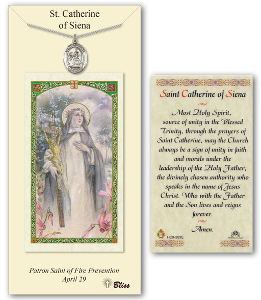 St. Catherine of Siena Pendant / Prayer Card