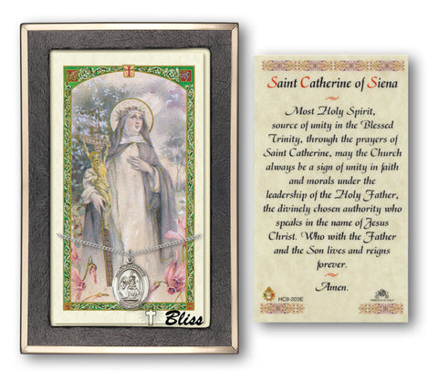Image of St. Catherine of Siena Silver Filled Prayer Card