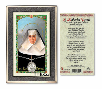 St Katharine Drexel Prayer Card with Medal