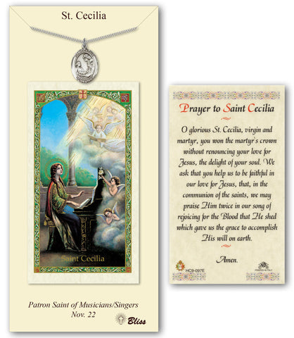 Image of St. Cecilia Pewter Prayer Card