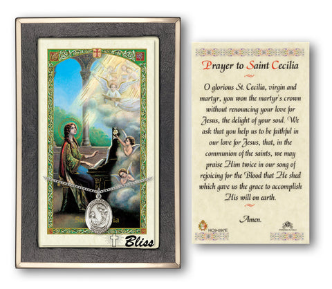 Image of St. Cecilia Silver Filled Prayer Card