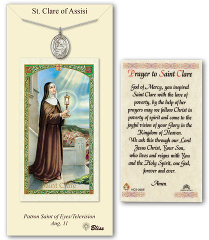 Image of St. Clare of Assisi Pewter Prayer Card