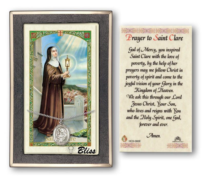 Image of St. Clare of Assisi Sterling Silver Prayer Card