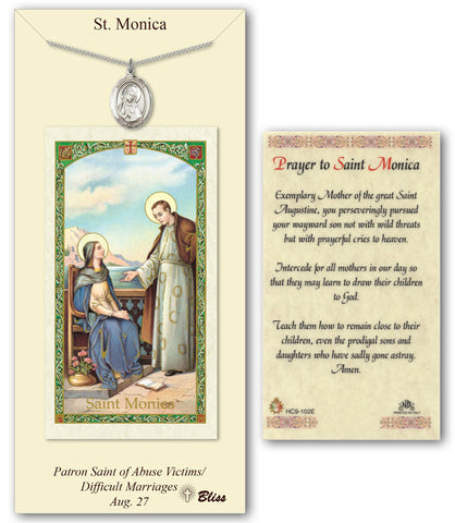 Image of St. Monica Pewter Prayer Card