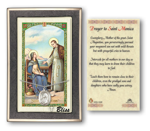 Image of St. Monica Silver Filled Prayer Card