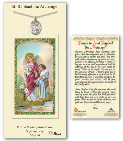 Image of St. Raphael the Archangel Pewter Prayer Card