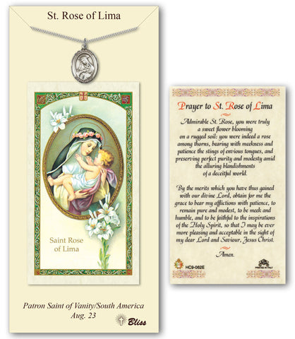 Image of St. Rose of Lima Pewter Prayer Card