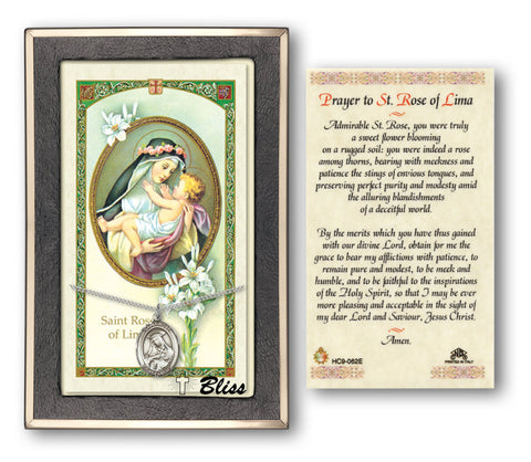 Image of St. Rose of Lima Silver Filled Prayer Card
