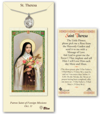 St Theresa of Lisieux Prayer Card with Medal