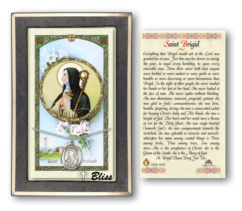Image of St. Brigid of Ireland Silver Filled Prayer Card