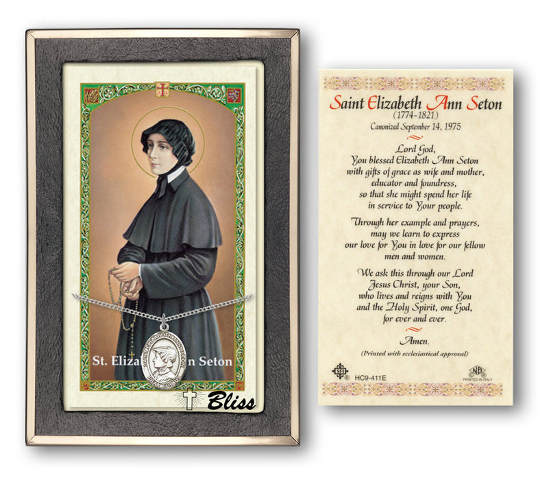 Image of St. Elizabeth Ann Seton Sterling Silver Prayer Card