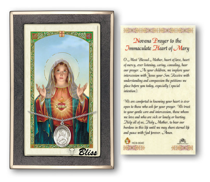 Immaculate Heart of Mary Pendant / Prayer Card (Sterling Silver)