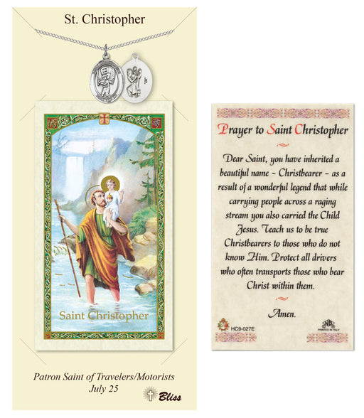 St. Christopher Pendant / Prayer Card (Baseball)