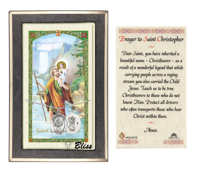 Image of St. Christopher/Baseball Sterling Silver Prayer Card