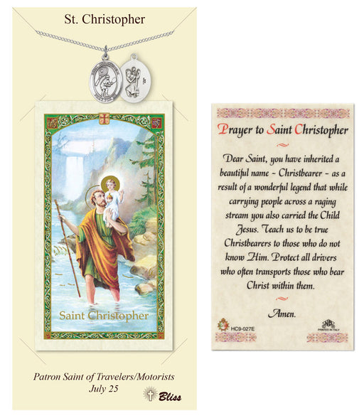 St. Christopher Pendant / Prayer Card (Tennis)