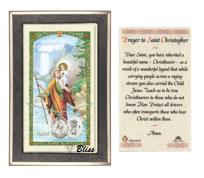 Image of St. Christopher/Wrestling Sterling Silver Prayer Card