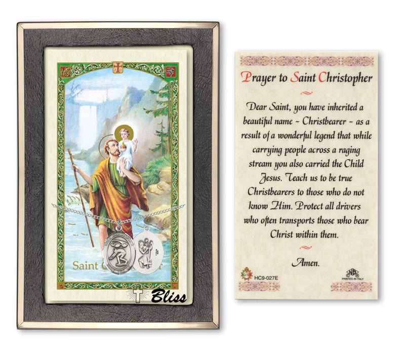 Image of St. Christopher/Swimming Sterling Silver Prayer Card