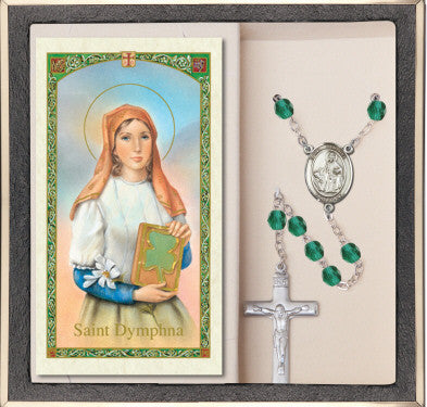 St. Dymphna Prayer Card & Rosary
