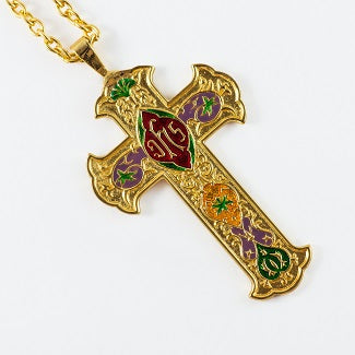 Color Inlay Gold Plated Pectoral Cross with Chain
