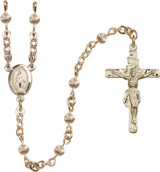 4mm 14Kt Gold Filled Corregated Rosary