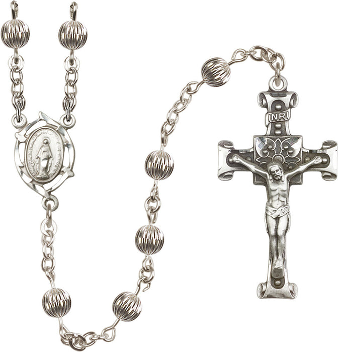 Image of  6mm Sterling Silver Corregated  Rosary